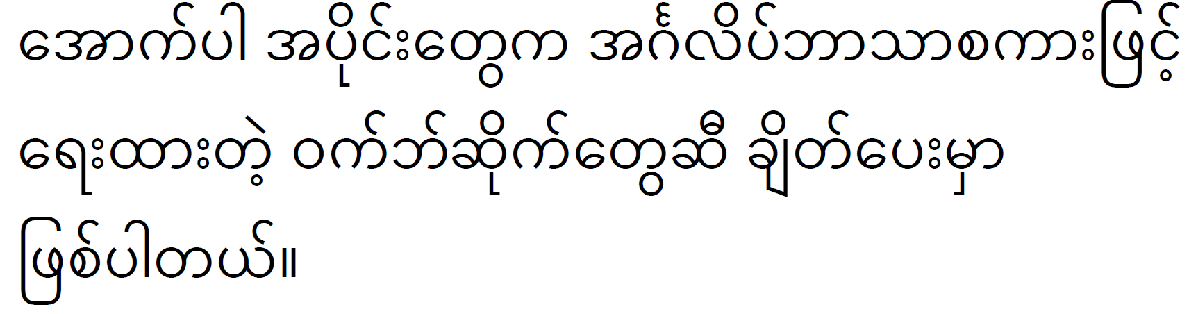 The following sections link to websites in English. (Burmese)
