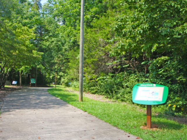 The first StoryWalk post at Homestead Park.